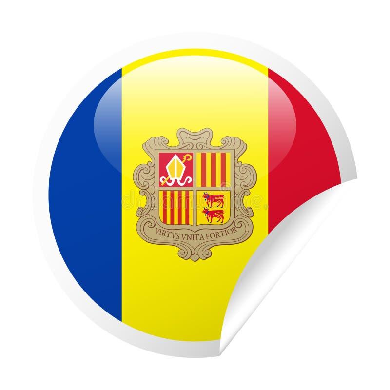 Het Document van de de Vlag Vector Rond Hoek van Andorra Pictogram royalty-vrije illustratie