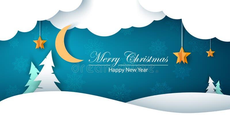 Het document van het de winterbeeldverhaal landschap Spar, maan, wolk, ster, sneeuw Vrolijke Christmass Gelukkig Nieuwjaar royalty-vrije stock afbeelding