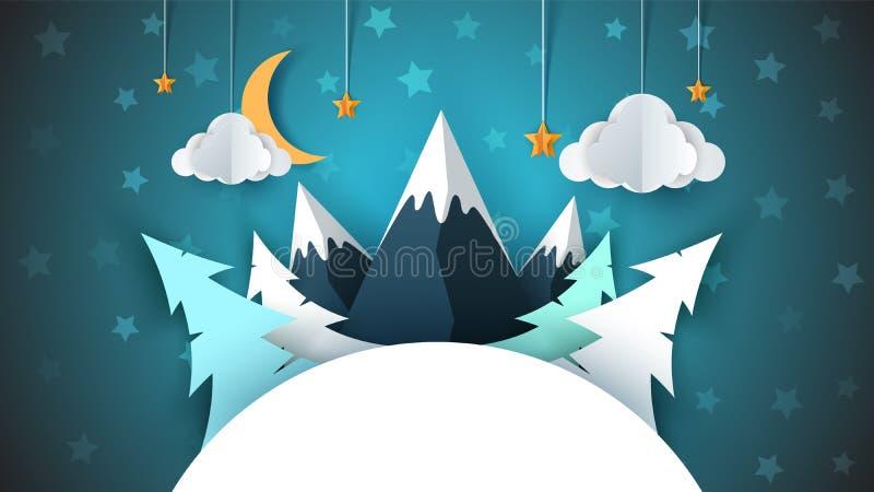 Het document van het de winterbeeldverhaal landschap Vrolijke Kerstmis, gelukkig nieuw jaar Spar, maan, wolk, ster, berg, sneeuw royalty-vrije stock fotografie