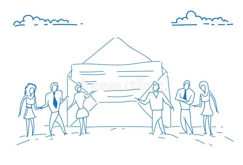 Het document van de zakenlui het open envelop groepswerk die van het de overeenkomstenconcept van het document succesvolle contra vector illustratie