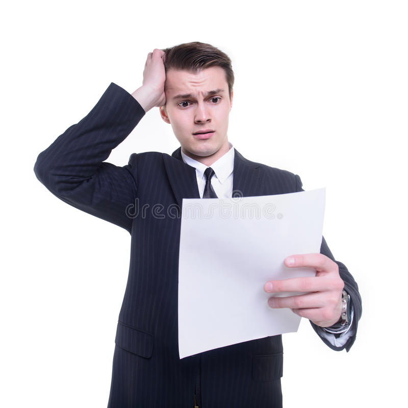 Het document van de zakenmanlezing royalty-vrije stock afbeeldingen