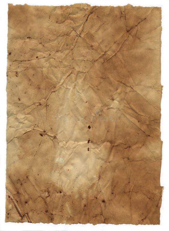 Het document van Grunge achtergrond die op wit wordt geïsoleerd. royalty-vrije stock foto