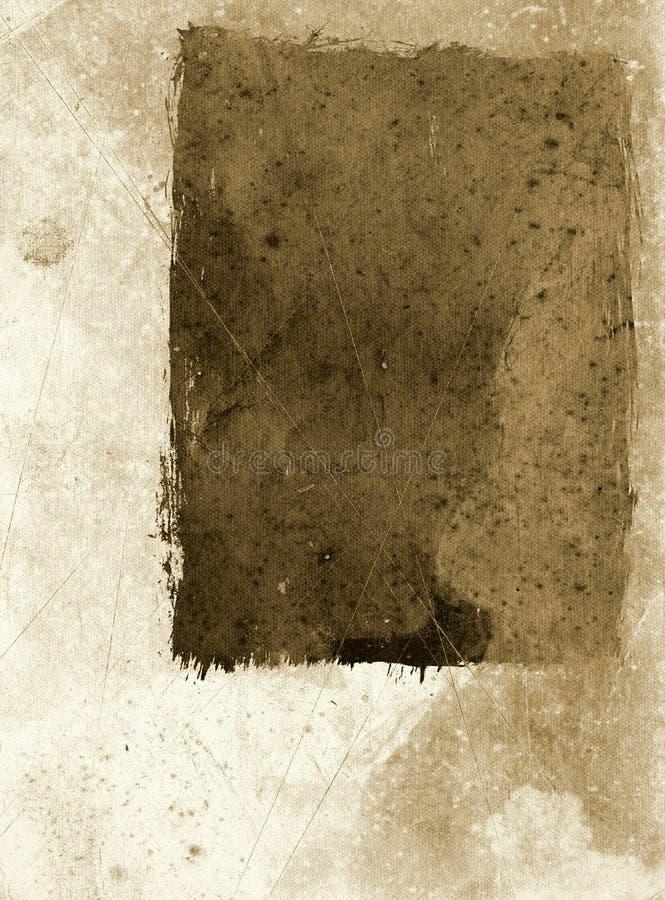 Het document van Grunge met frame - sepia stock illustratie