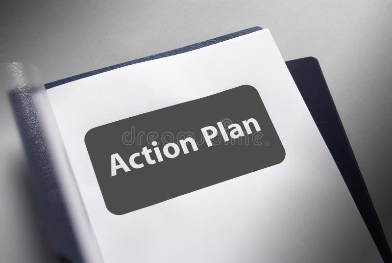 Het document van het actieplan stock foto's
