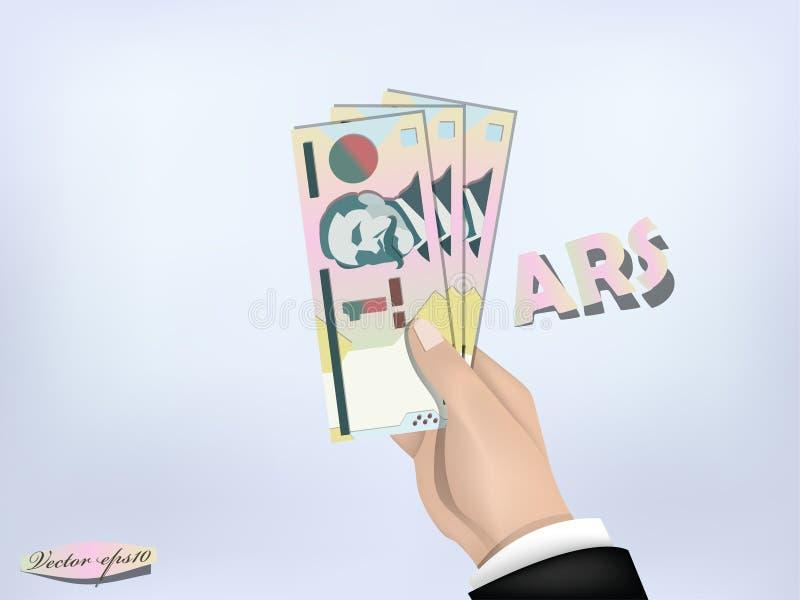Het document van het de pesogeld van Argentinië op hand, contant geld op hand vector illustratie