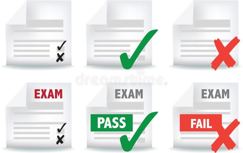 Het document van het examen pictogram vector illustratie