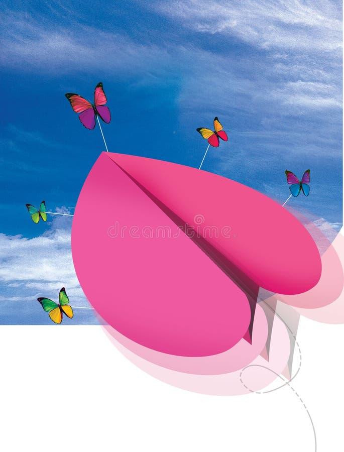 Het document van het hart vliegtuigvlieg met vlinder stock afbeelding