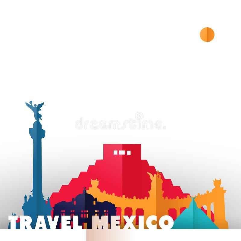Het document van het land van reismexico de monumenten van de besnoeiingswereld vector illustratie
