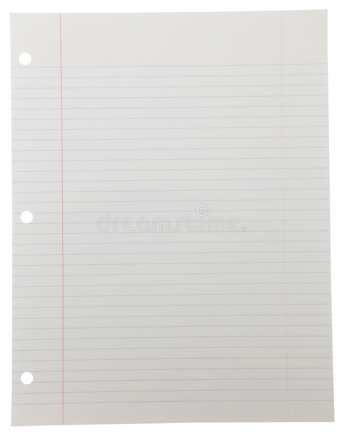 Het Document van het notitieboekje op Wit royalty-vrije stock foto's