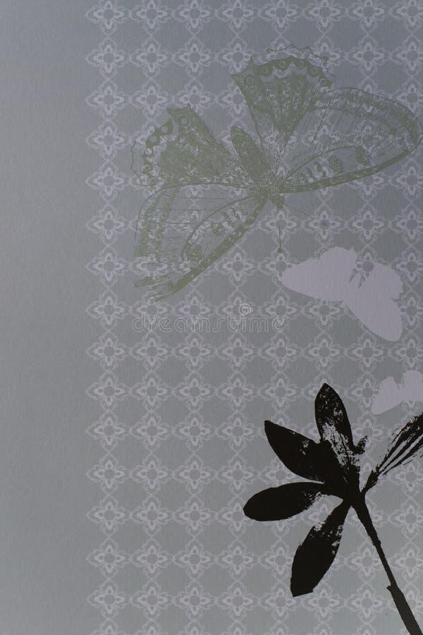 Het document van het plakboek met bloemen en vlinder vector illustratie