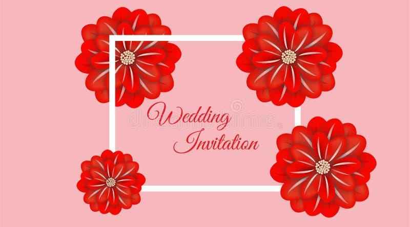 Het document van het huwelijks bloemenkader art. Vector illustratie royalty-vrije illustratie