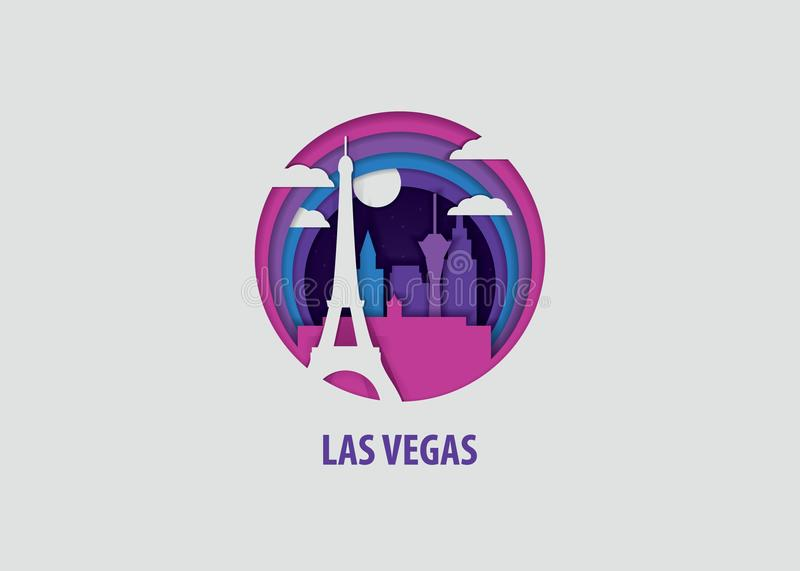 Het document van Las Vegas sneed vectorillustratie vector illustratie