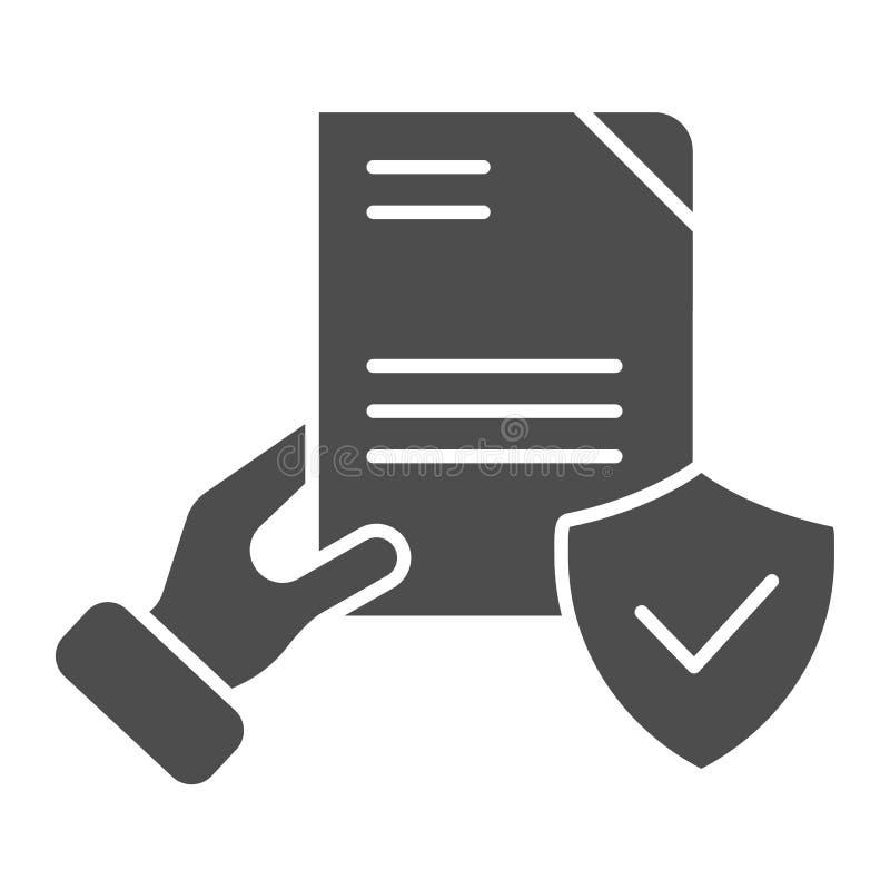 Het document verifieerde in hand stevig pictogram Gecontroleerde overeenkomsten vectorillustratie die op wit wordt ge?soleerd Vor stock illustratie