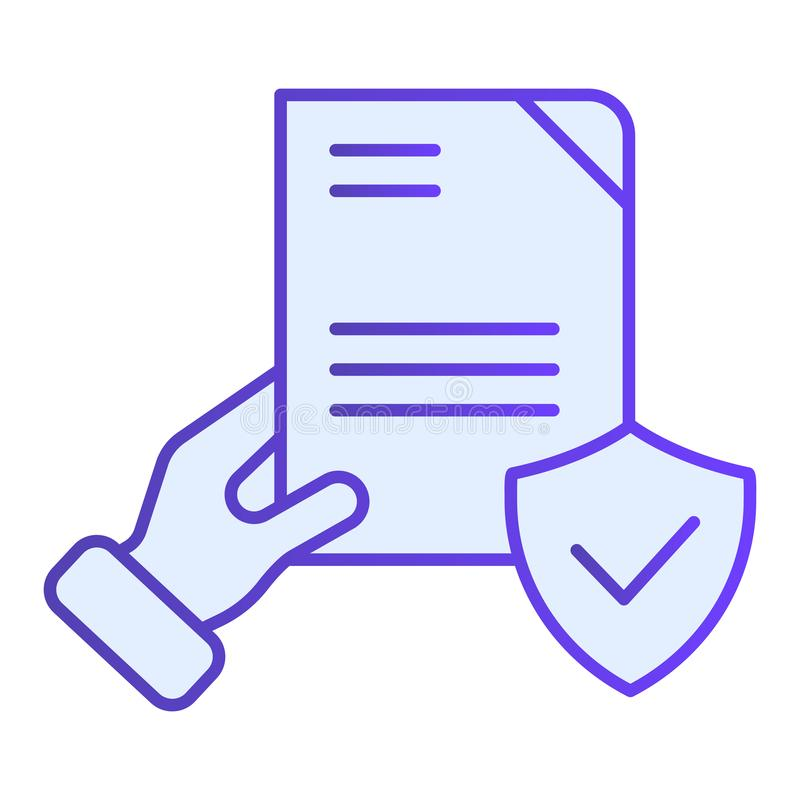 Het document verifieerde in hand vlak pictogram Gecontroleerde overeenkomsten blauwe pictogrammen in in vlakke stijl Vorm met de  vector illustratie