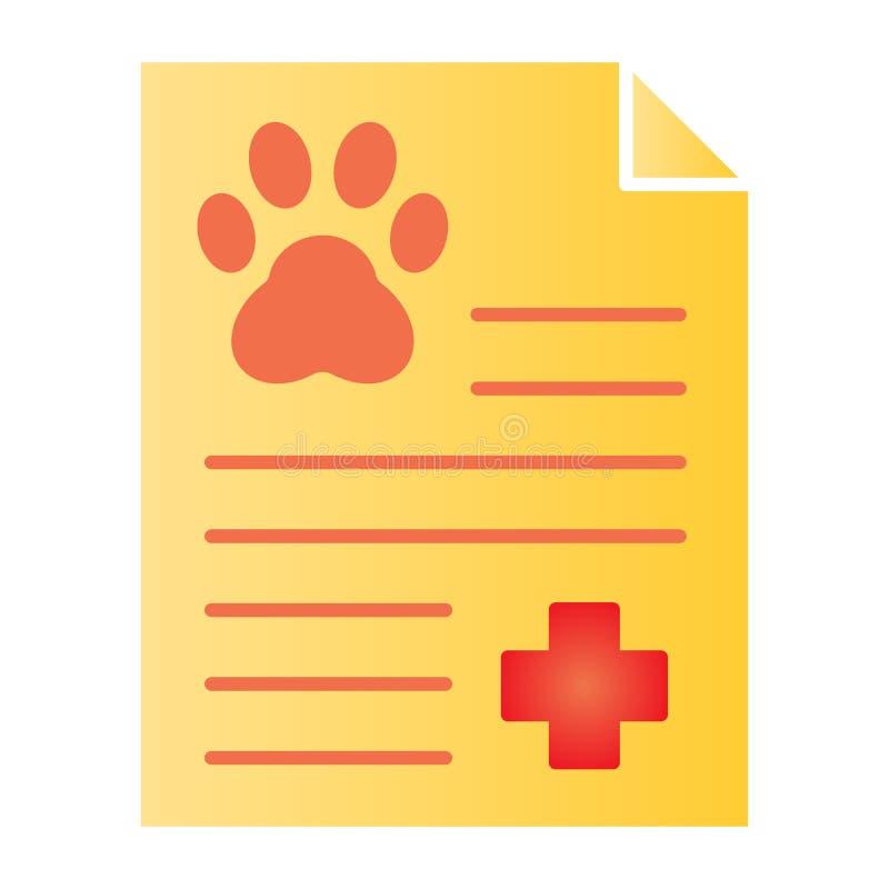Het document vlak pictogram van het huisdierenonderzoek De pictogrammen van de medisch dossierkleur in in vlakke stijl De vorm va stock illustratie