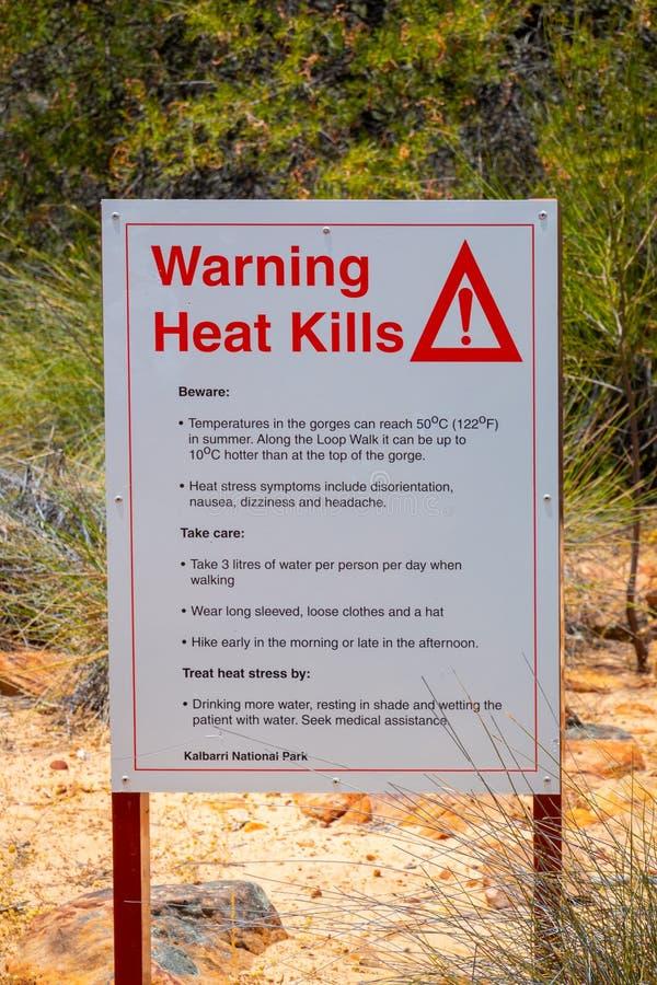 Het Doden van de waarschuwingshitte ondertekent waarschuwing over de extreme hitte in het Australische Binnenland stock afbeelding