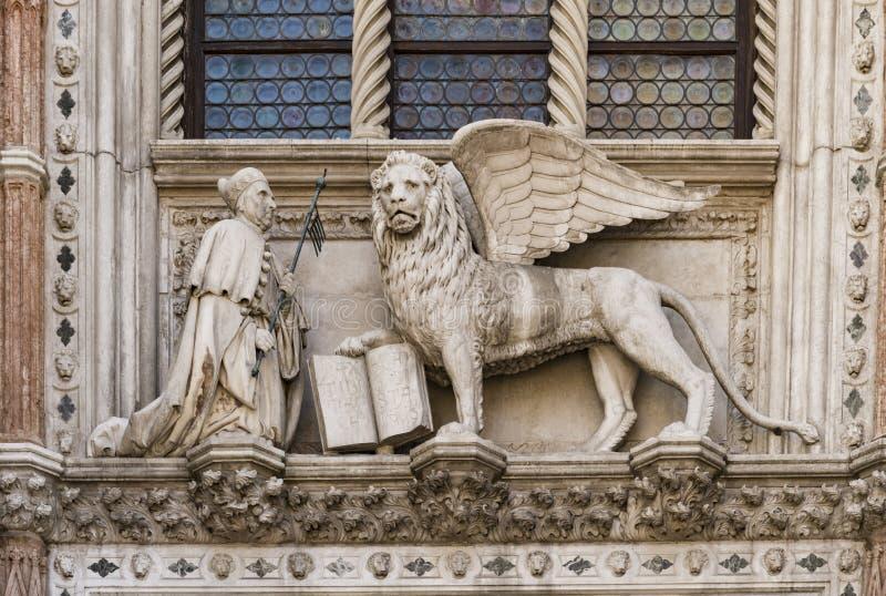 Het Dodge-hertogpaleis entrace in de stad van Venetië in Italië stock afbeelding