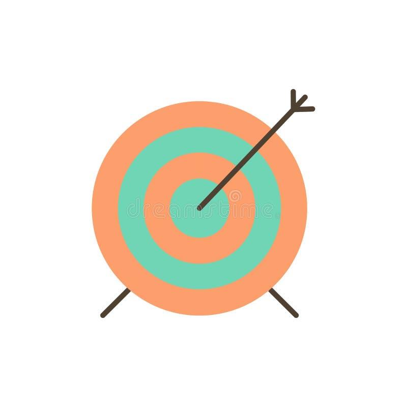Het doel, Pijltje, Doel, concentreert Vlak Kleurenpictogram Het vectormalplaatje van de pictogrambanner vector illustratie