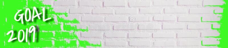 Het doel 2019, Textuur van witte bakstenen muur met ruwe oppervlakte is horizontaal, Banners voor het verfraaien van websites of  royalty-vrije stock afbeeldingen