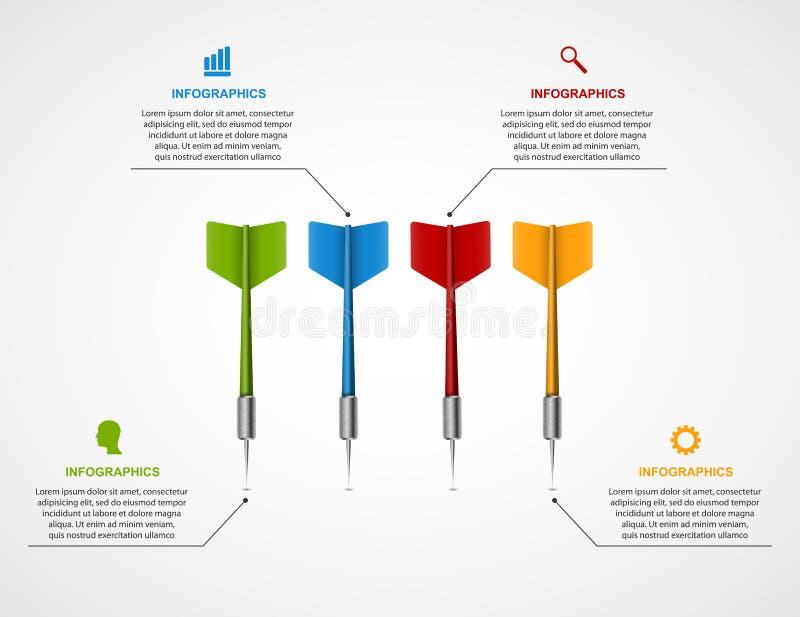 Het doel van het Infographicmalplaatje met pijltjes royalty-vrije illustratie