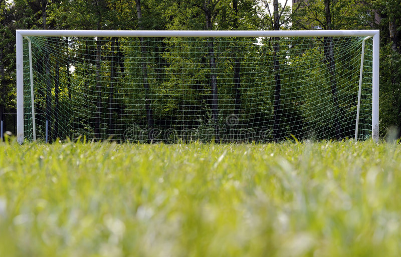 Het doel van het voetbal stock foto