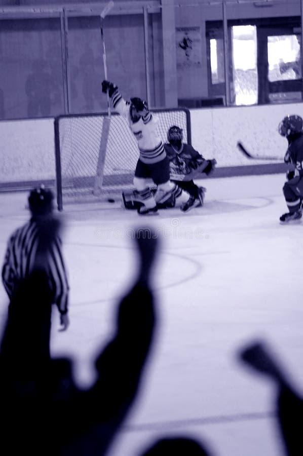 Het doelonduidelijk beeld van het ijshockey stock foto's