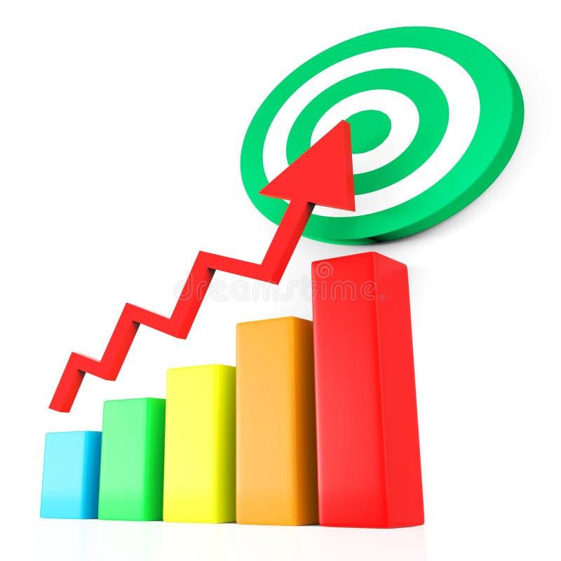 Het doelrapport vertegenwoordigt Bedrijfsgrafiek en Analyse vector illustratie
