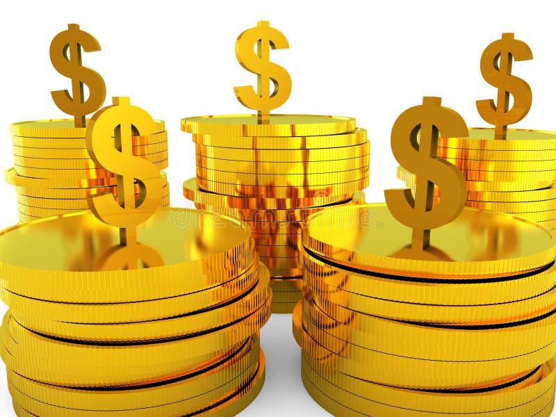 Het dollarscontante geld wijst op Bank en Verhoging investeer vector illustratie