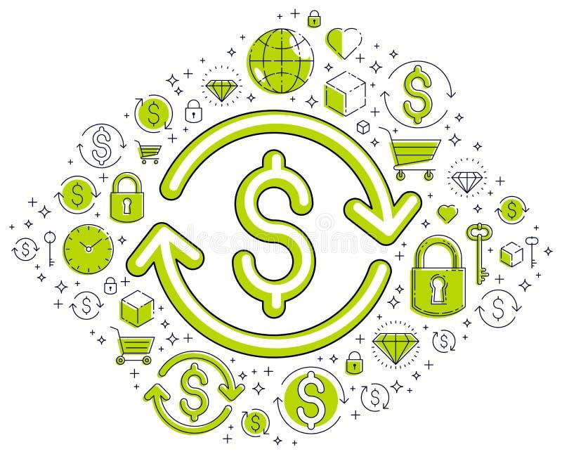 Het dollarteken en de lijnpijl, muntuitwisseling, terugkeer op investering, verzekeringsconcept, terugbetaling, effectenbeurs, he vector illustratie