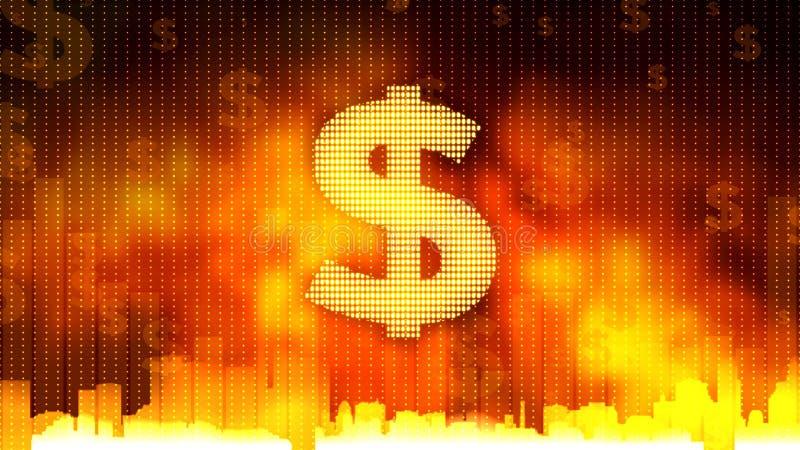 Het dollarteken op vurige achtergrond, geld beslist de wereld, begrotingsgoedkeuring, financiën royalty-vrije stock fotografie