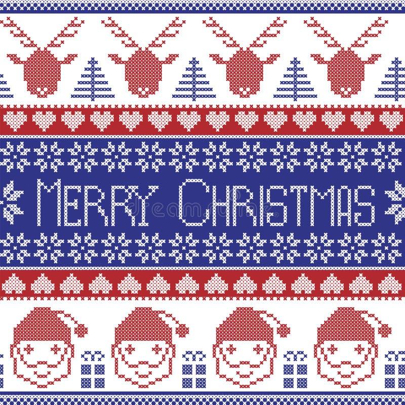 Het donkerblauwe en rode Skandinavische Vrolijke Kerstmispatroon met Santa Claus, Kerstmis stelt, rendier, decoratieve ornamenten stock illustratie