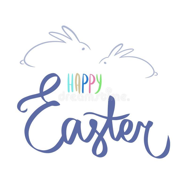 Het donkerblauwe gelukkige Pasen-dag van letters voorzien Kalligrafieprentbriefkaar of van letters voorziende element van het aff vector illustratie
