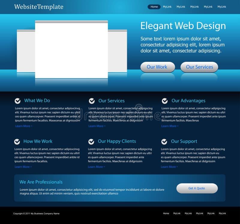 Het donkerblauwe malplaatje van het websiteontwerp vector illustratie