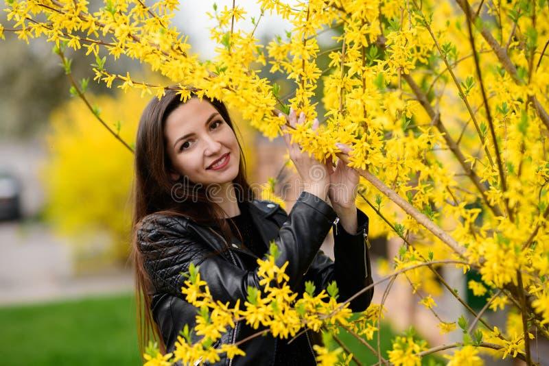 Het donkerbruine stellen in de de herfsttuin Het jonge mooie donkerbruine glimlachen outdoors Bomen met groene bladeren Tuin, Par stock foto's