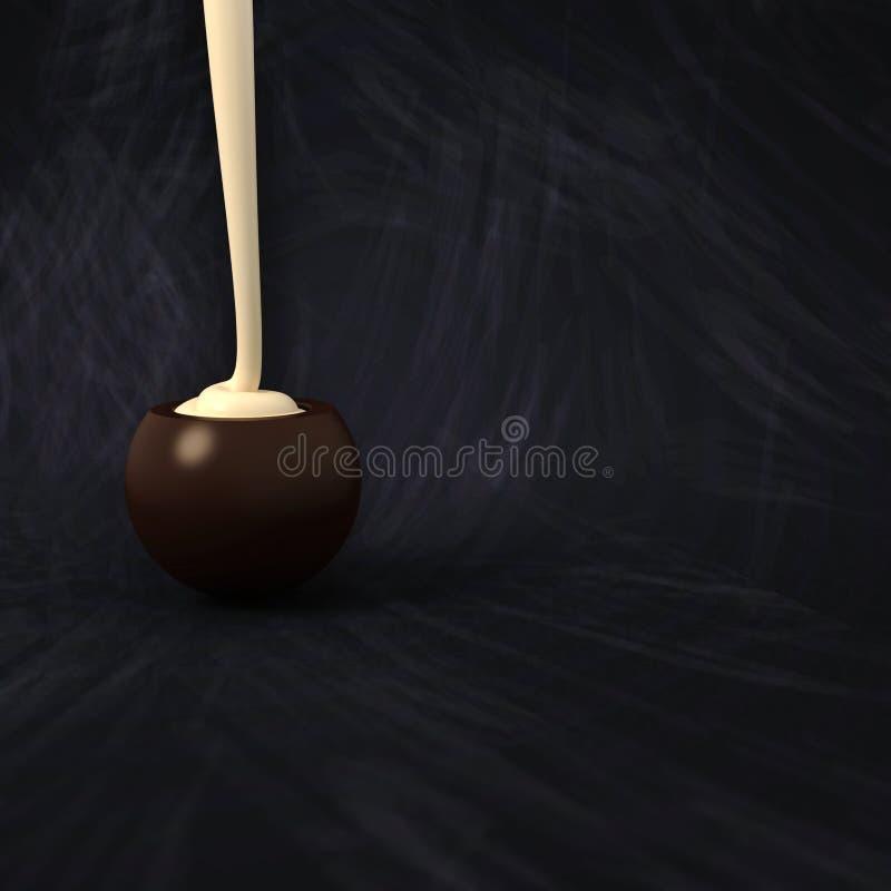 Het donkere de room van de de heksenvanille van de chocoladepraline vullen op bord royalty-vrije stock foto's