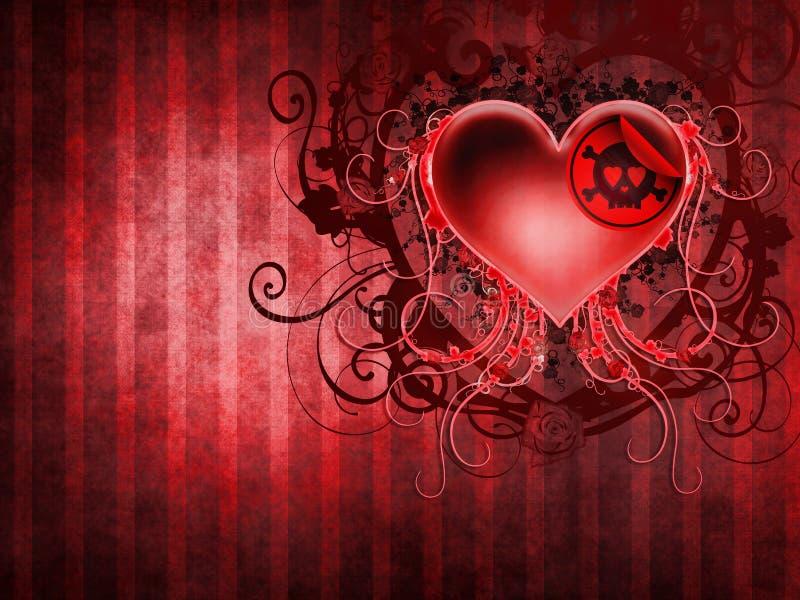 Het donkere hart van de Valentijnskaart stock illustratie