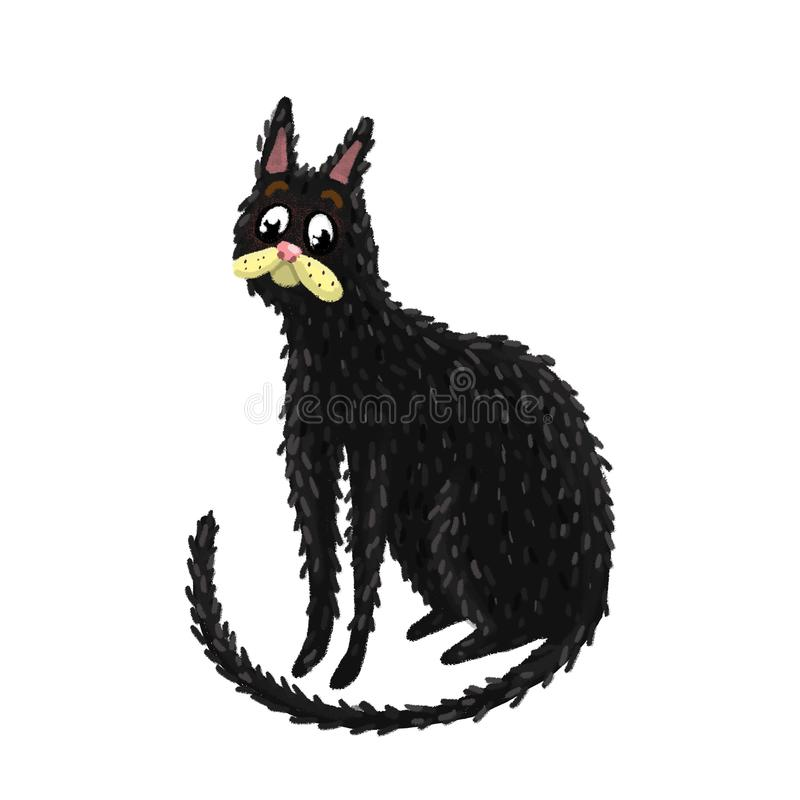 Het donkere kat grijs zitten ziet eruit stock foto
