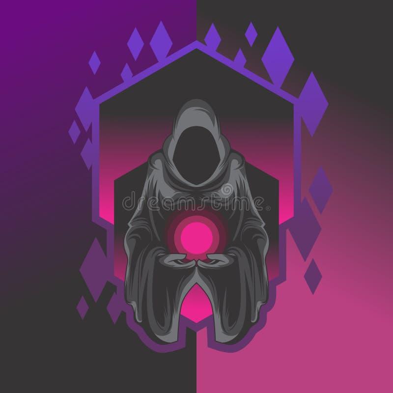 Het donkere onverbiddelijke ontwerp van het maaimachineembleem vector illustratie