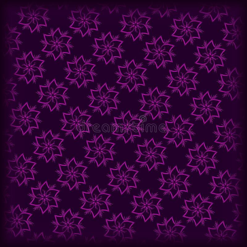 het donkere purpere en roze patroon van hand drawnd bloemen royalty-vrije stock afbeelding