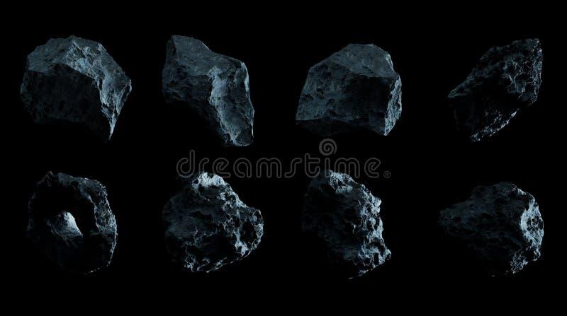Het donkere rots stervormige pak 3D teruggeven royalty-vrije illustratie