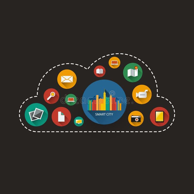 Het donkere Slimme Concept van het Stadsontwerp - Digitaal Netwerkverbindingen, Technologieachtergrond royalty-vrije illustratie