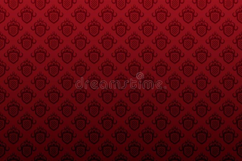 Het donkerrode naadloze behang van het schildembleem royalty-vrije illustratie
