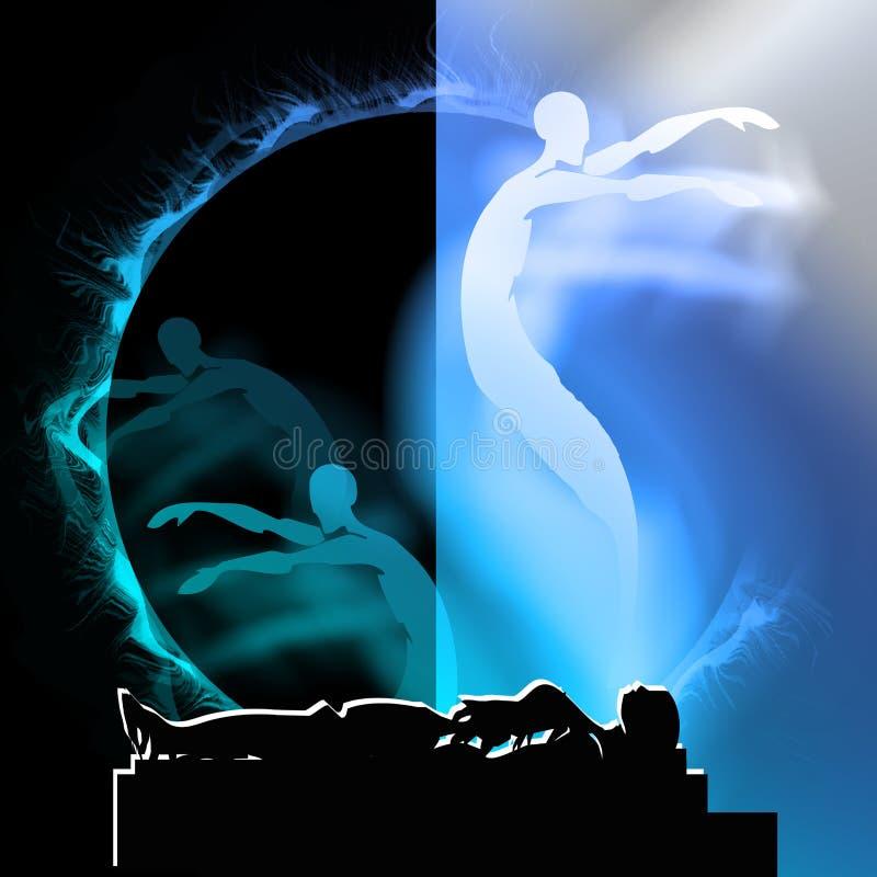 Het doodsziel en Leven na dood, het Verdere leven stock illustratie