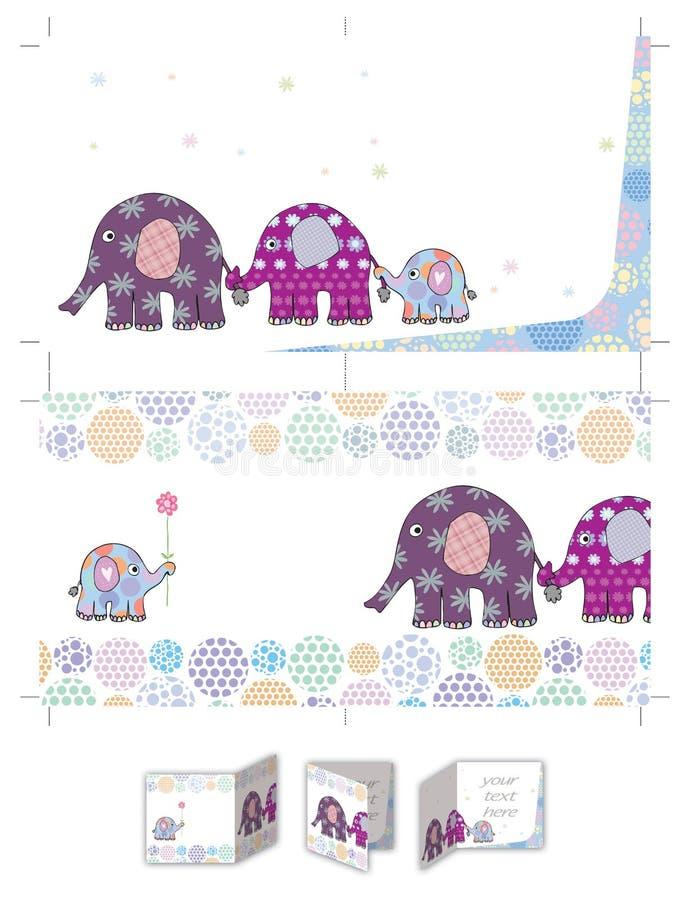 Het doopseluitnodiging van de olifantsfamilie stock illustratie