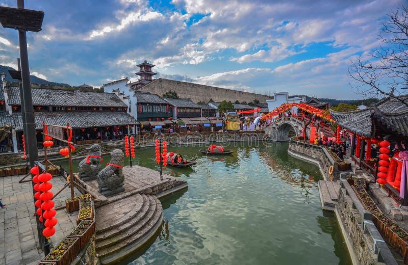 Het Dorp China van het Jiangnanwater stock afbeelding
