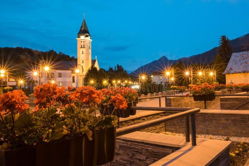 Het dorp Terchovà ¡ in de nacht royalty-vrije stock afbeelding