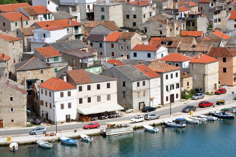Het dorp van de Novigradvisser, Kroatië stock afbeeldingen