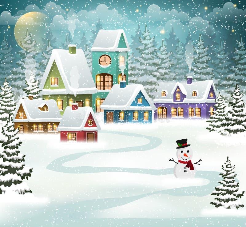Het Dorp van de winter vector illustratie