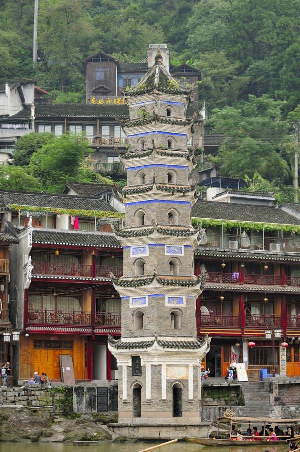 Het Dorp van Fenghuang van de Wanmingspagode stock afbeelding