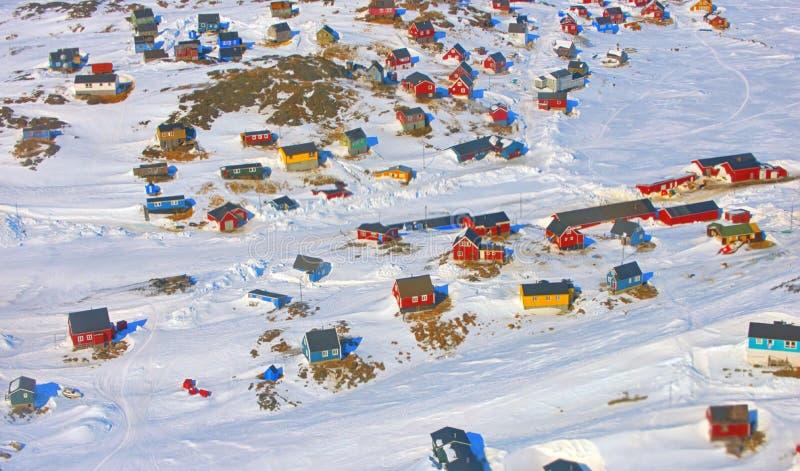 Het dorp van Groenland royalty-vrije stock afbeelding